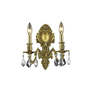 Monarch 10 Crystal Wall Sconce With 2 Lights - French Gold Finish And Clear / Elegant Cut Crystal Wall Sconce