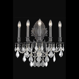 Monarch 21 Crystal Wall Sconce With 5 Lights - Dark Bronze Finish And Clear / Elegant Cut Crystal Wall Sconce