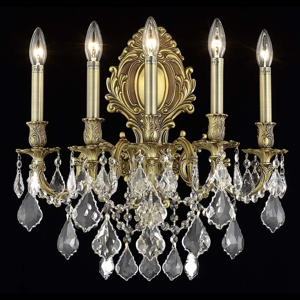 Monarch 21 Crystal Wall Sconce With 5 Lights - French Gold Finish And Clear / Elegant Cut Crystal Wall Sconce