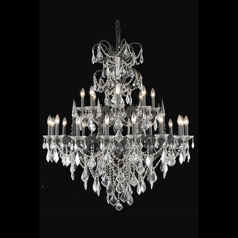 Athena 44 Crystal Foyer Pendant Chandelier With 24 Lights - Dark Bronze Finish And Clear / Spectra Swarovski Crystal Chandelier
