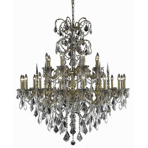 Athena 44 Crystal Foyer Pendant Chandelier With 24 Lights - French Gold Finish And Clear / Spectra Swarovski Crystal Chandelier
