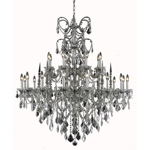 Athena 44 Crystal Foyer Pendant Chandelier With 24 Lights - Pewter Finish And Clear / Spectra Swarovski Crystal Chandelier