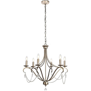 Baez 26 Pendant With 6 Lights - Antiqued Silver Finish Pendant