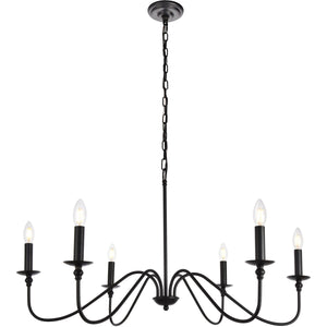 Rohan 36 Pendant With 6 Lights - Matte Black Finish Pendant