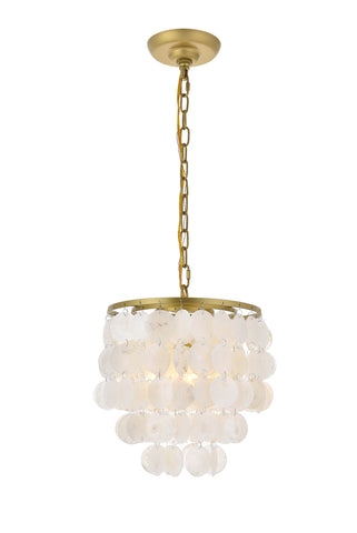 "10"" Selen Pendant with 1 Light - Brass and White Finish"
