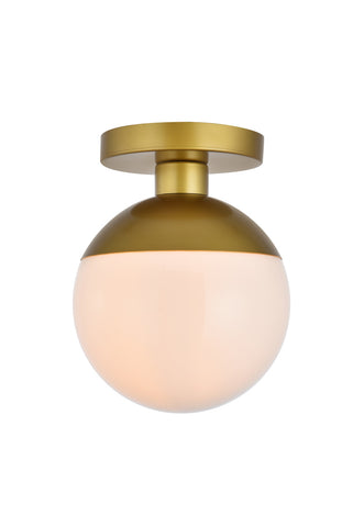 "8"" Eclipse Flush Mount with 1 Light - Brass  and Milk Finish"