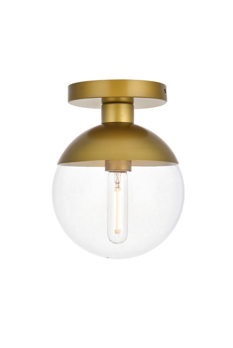 "8"" Eclipse Flush Mount with 1 Light - Brass  and Clear Finish"