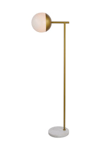 "15"" Eclipse Floor Lamp with 1 Light -  Brass and Milk Finish"