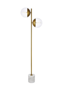 "17.5"" Eclipse  Floor Lamp with 2 Lights -  Brass and Clear Finish"