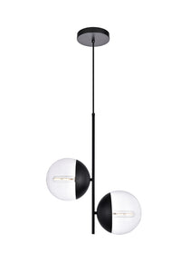 "17.25"" Eclipse Pendant with 2 Lights -  Black and Clear Finish"