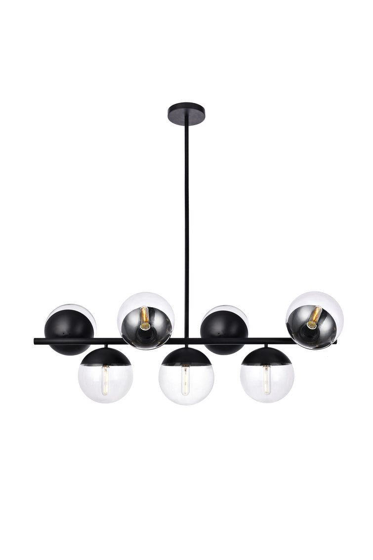 "43"" Eclipse Pendant with 7 Lights -  Black and Clear Finish"