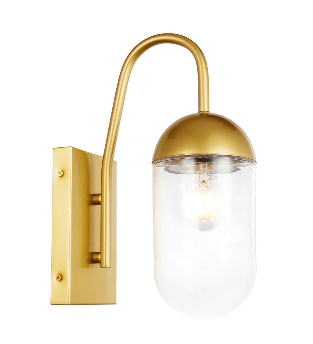 "4.8"" Kace Wall Sconce with 1 Light -  Brass and Clear Finish"