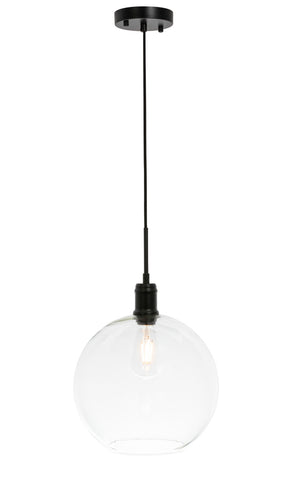 "12.5"" Emett Pendant with 1 Light -  Black and Clear Finish"