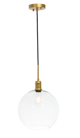 "12.5"" Emett Pendant with 1 Light -  Brass and Clear Finish"