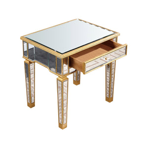 Florentine 26 X 26 1 Drawer End Table - Gold Leaf - Gold Leaf Finish (Mf1-2001Gc) End Table
