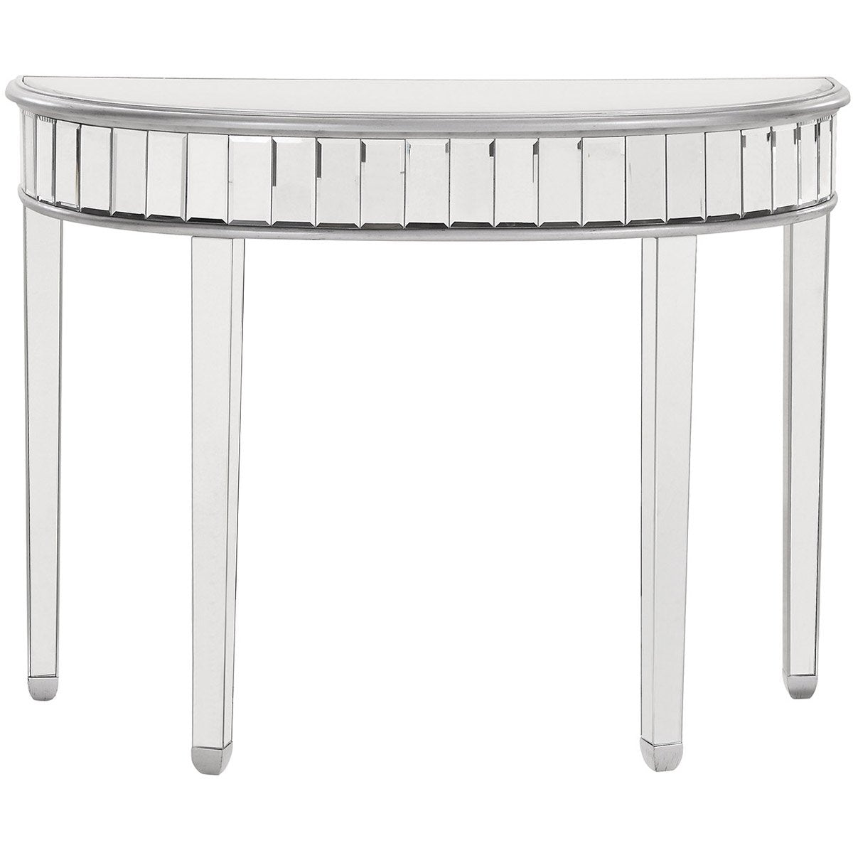 Contempo 42 X 32 Half Moon Table - Antique Silver Finish (Mf6-1004S) Moon Table