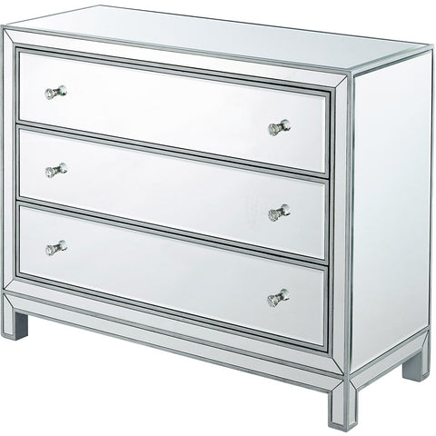 Reflexion 40 X 32 3 Drawer Chest - Antique Silver Finish (Mf72019) Chest
