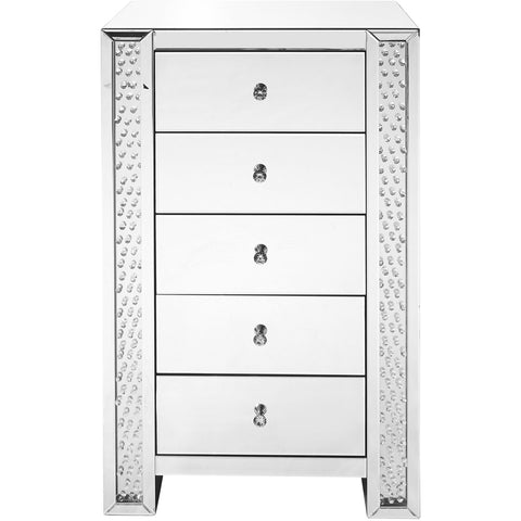 Sparkle 29 X 48 5 Drawer Clear Mirror And Crystal Chest (Mf91005) Chest