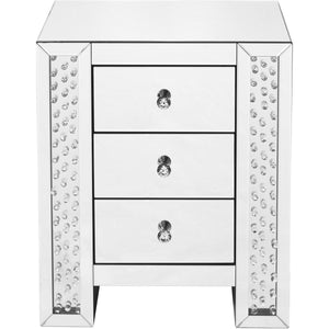 Sparkle 22 X 26 3 Drawer Clear Mirror And Crystal Bedside Table (Mf91006) Side Table