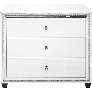 Sparkle 40 X 34 3 Drawer Clear Mirror And Crystal Cabinet (Mf91010) Cabinet