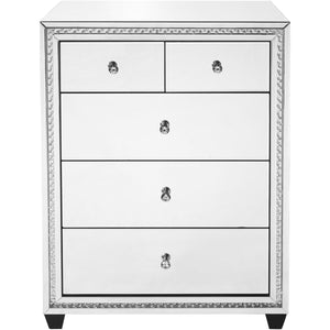 Sparkle 32 X 41 5 Drawer Clear Mirror And Crystal Cabinet (Mf91013) Cabinet