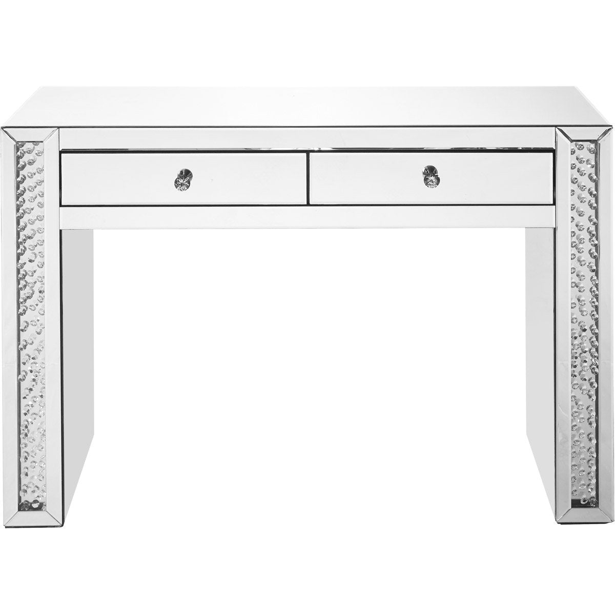 Sparkle 47 X 32 2 Drawer Clear Mirror And Crystal Vanity Table (Mf91017) Vanity