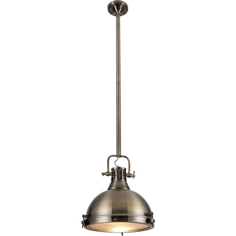 Industrial 15 Pendant With 1 Light - Antique Brass Finish Pendant