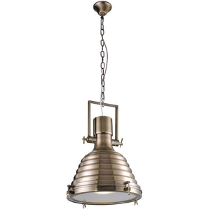 Industrial 17 Pendant With 1 Light - Antique Brass Finish Pendant