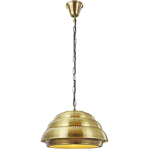 Industrial 16 Pendant With 1 Light - Antique Brass Finish Pendant