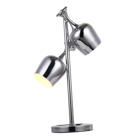 Industrial 24 Table Lamp With 2 Lights - Chrome Finish Table Lamp