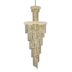 Spiral 21 Crystal Chandelier With 22 Lights - Gold Finish And Swarovski Elements Crystal Chandelier