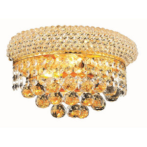 Primo 12 Crystal Wall Sconce With 2 Lights - Gold Finish And Swarovski Elements Crystal Wall Sconce