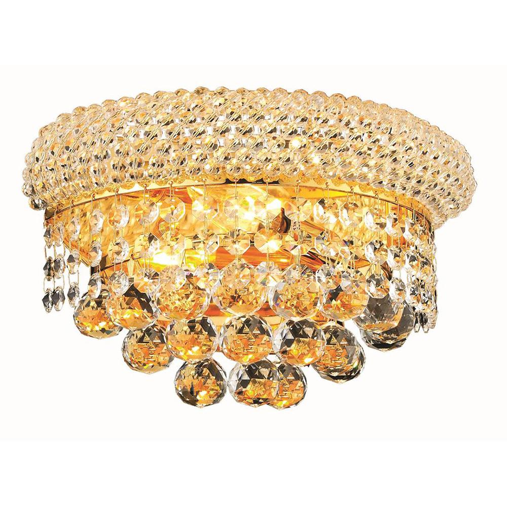 Primo 12 Crystal Wall Sconce With 2 Lights - Gold Finish And Elegant Cut Crystal Wall Sconce
