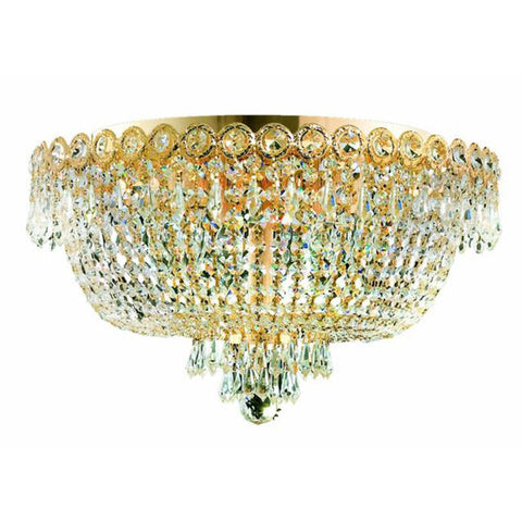 Century 18 Crystal Flush Mount With 6 Lights - Gold Finish And Spectra Swarovski Crystal Flush Mount