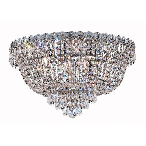 Century 20 Crystal Flush Mount With 9 Lights - Chrome Finish And Elegant Cut Crystal Flush Mount