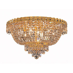Century 20 Crystal Flush Mount With 9 Lights - Gold Finish And Royal Cut Crystal Flush Mount