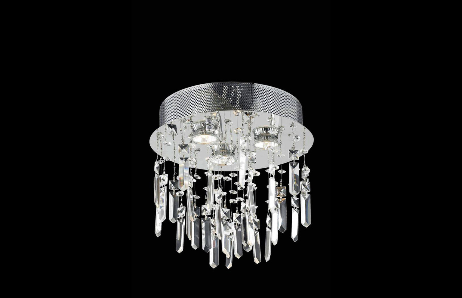 "Galaxy 12"" Crystal Flush Mount with 3 Lights - Chrome Finish"