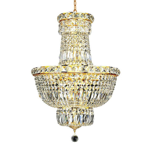 Tranquil 18 Crystal Mini Chandelier With 12 Lights - Gold Finish And Swarovski Elements Crystal Chandelier