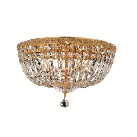 Tranquil 18 Crystal Flush Mount With 8 Lights - Gold Finish And Swarovski Elements Crystal Flush Mount