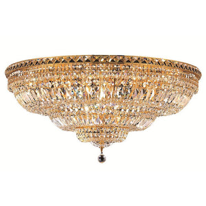 Tranquil 36 Crystal Flush Mount With 21 Lights - Gold Finish And Swarovski Elements Crystal Flush Mount