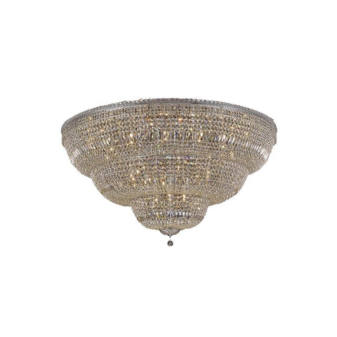 Tranquil 60 Crystal Flush Mount With 48 Lights - Chrome Finish And Royal Cut Crystal Flush Mount