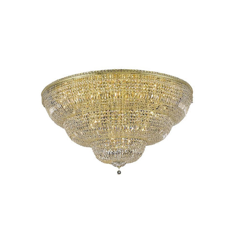 Tranquil 60 Crystal Flush Mount With 48 Lights - Gold Finish And Royal Cut Crystal Flush Mount