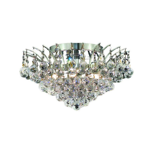 Victoria 16 Crystal Flush Mount With 6 Lights - Chrome Finish And Swarovski Elements Crystal Flush Mount