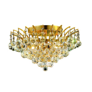 Victoria 16 Crystal Flush Mount With 6 Lights - Gold Finish And Swarovski Elements Crystal Flush Mount
