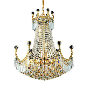 Corona 20 Crystal Chandelier With 9 Lights - Gold Finish And Swarovski Elements Crystal Chandelier