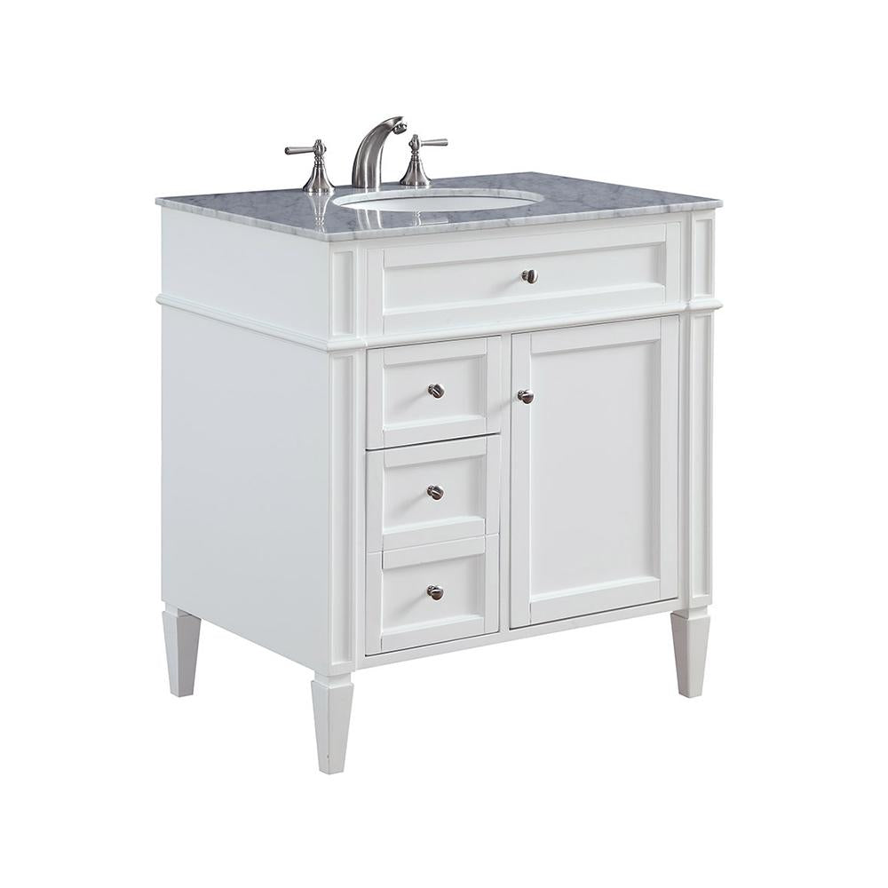 Park Ave 32 X 35 2 Drawer 1 Door Vanity Cabinet - White Finish (Vf-1024) Vanity