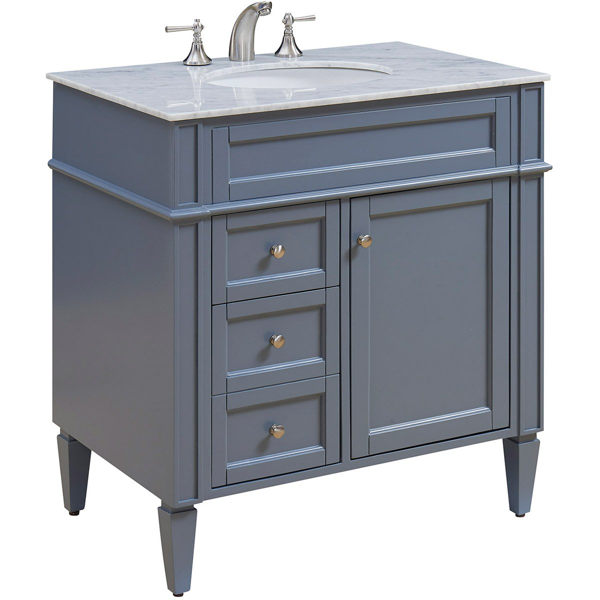 Park Ave 32 X 35 2 Drawer 1 Door Vanity Cabinet - Grey Finish (Vf-1025) Vanity