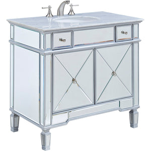 Camile 36 X 34 2 Drawer 2 Door Vanity Cabinet - Clear Mirror Finish (Vf-1101) Vanity