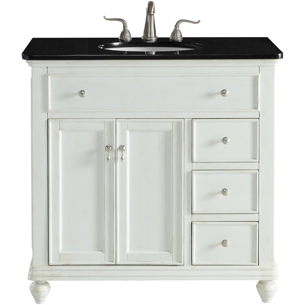Otto 36 X 35 3 Drawer 2 Door Vanity Cabinet - Antique White Finish (Vf12336Aw) Vanity