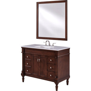 Lexington 42 X 35 6 Drawer 2 Door Vanity Cabinet With Mirror - Walnut Finish (Vf13042Wt) Vanity